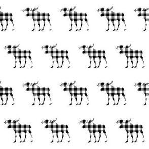"2"" Buffalo Plaid Moose Silhouette Pattern | Black and White"