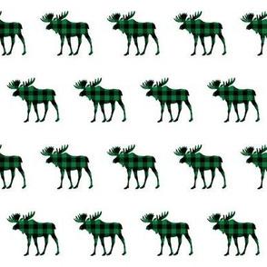 "2"" Buffalo Plaid Moose Silhouette Pattern | Green and Black"