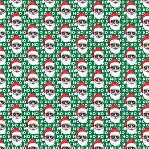 "(1"" scale) Santa Claus w/ sunnies - HO HO HO green - Christmas C18BS"
