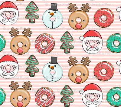 """(1"""" scale) Christmas donuts - Santa, Christmas tree, reindeer - pink stripes C18BS"""