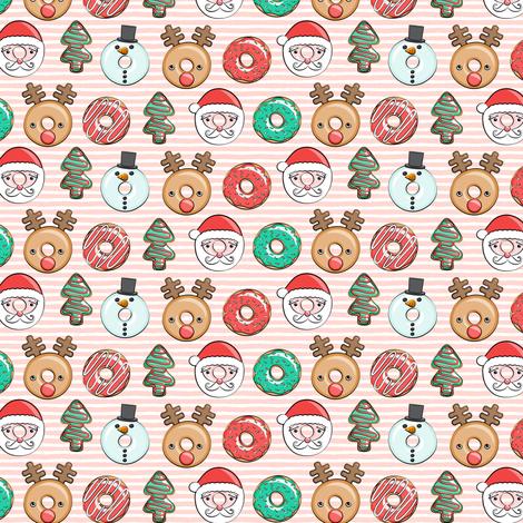 "(1"" scale) Christmas donuts - Santa, Christmas tree, reindeer - pink stripes C18BS fabric by littlearrowdesign on Spoonflower - custom fabric"