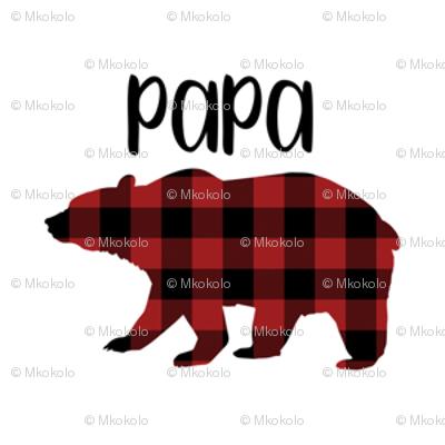 "2"" Buffalo Plaid Papa Bear Silhouette Pattern | Red and Black"