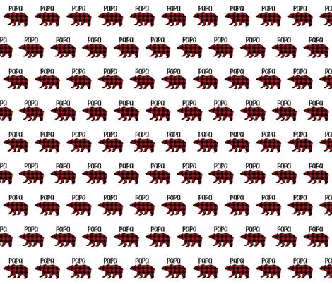 "2"" Buffalo Plaid Papa Bear Silhouette Pattern | Red and Black fabric by mkokolo on Spoonflower - custom fabric"