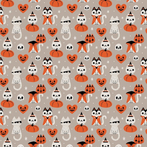 HalloweenKitties (Gray) Large