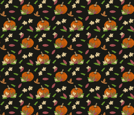Pumpkin Patch on Black Small fabric by roguerenpnw on Spoonflower - custom fabric