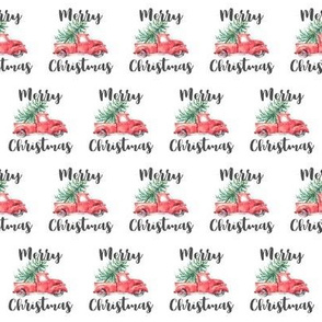 Merry Christmas Truck and Tree Pattern | White Background