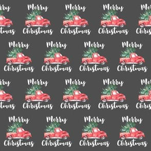 Merry Christmas Truck and Tree Pattern | Gray Background