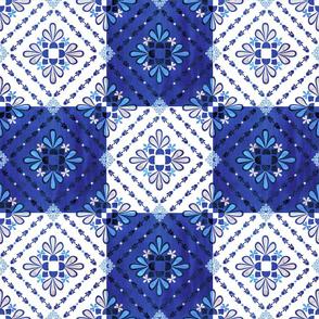 Boho Tiles blue and White
