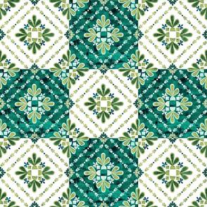 Boho Tiles green and White