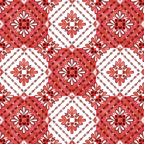 boho Tiles Red and White
