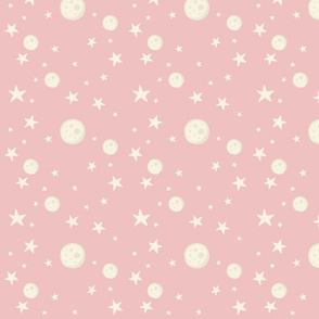 Full Moons and Stars on pink