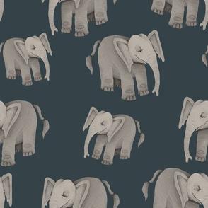 Happy Elephants on Dark Teal