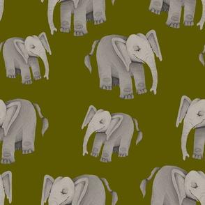 Happy Elephants on Olive Green