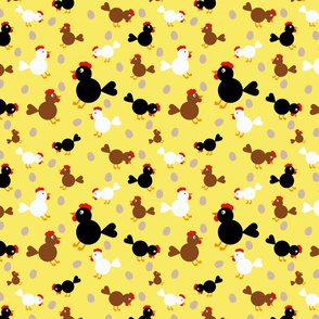 Three Colour Chickens on Yellow