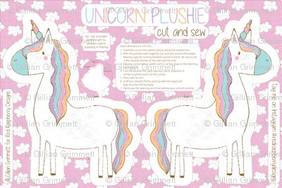 Unicorn Plushie Cut and Sew Unicorn Pillow, Unicorn toy, Unicorn softie, Fat Quarter Project