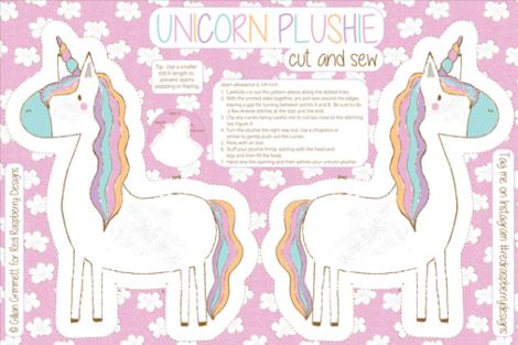 Unicorn Plushie Cut and Sew Unicorn Pillow, Unicorn toy, Unicorn softie, Fat Quarter Project fabric by red_raspberry_designs on Spoonflower - custom fabric
