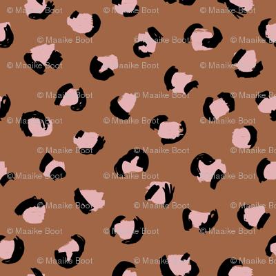 Trendy leopard print animals fur modern Scandinavian style raw brush  abstract copper pink black autumn SMALL