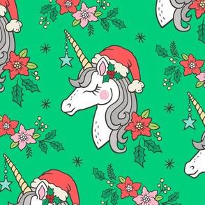 Christmas Unicorn on Green