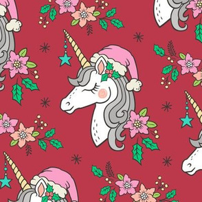 Christmas Unicorn on Pink on Red