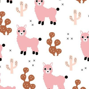 Soft pastel llama alpaca love cactus autumn fall design copper pink