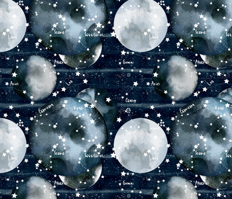 Moons & Star signs fabric by floramoon on Spoonflower - custom fabric