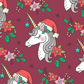 Christmas Unicorn on Dark Red