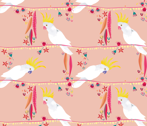 Australian Cockatoo Christmas peach by Mount Vic and Me fabric by mountvicandme on Spoonflower - custom fabric