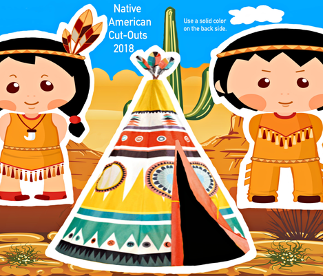 Native American Cut-Outs Front Side 27x18 fabric by fabric_is_my_name on Spoonflower - custom fabric