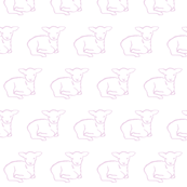 Lamb Lying Down in pink on white