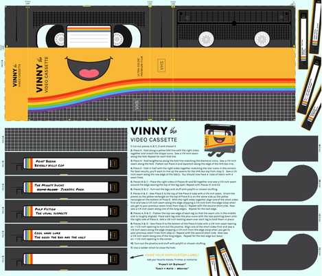 Vinny the VHS Plushie - Cut and Sew Pattern fabric by wildnotions on Spoonflower - custom fabric