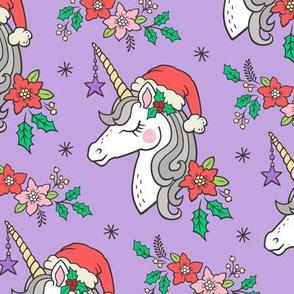 Christmas Unicorn on Purple