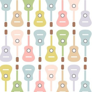 Colorful musical guitars