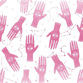 EXTRA LARGE - home dec size - palmistry fabric, palm print fabric, hand, mystic, eye, ouija, tarot, mystic fabric -pink