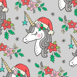 Christmas Unicorn on Light Grey