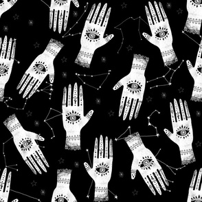 EXTRA LARGE - home dec size - palmistry fabric, palm print fabric, hand, mystic, eye, ouija, tarot, mystic fabric - black