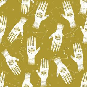 EXTRA LARGE - home dec size - palmistry fabric, palm print fabric, hand, mystic, eye, ouija, tarot, mystic fabric - yellow