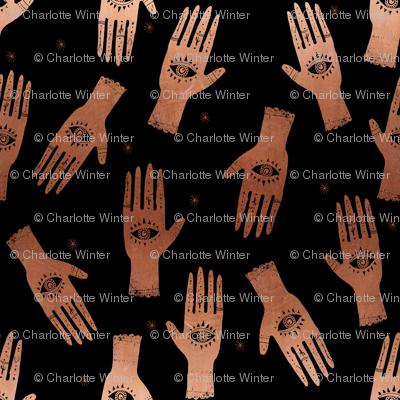 MEDIUM - palmistry hand print, palm print fabric, palmistry, tarot fabric, ouija fabric, hand print, trendy palm print - black and copper
