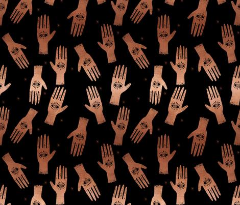 MEDIUM - palmistry hand print, palm print fabric, palmistry, tarot fabric, ouija fabric, hand print, trendy palm print - black and copper fabric by charlottewinter on Spoonflower - custom fabric