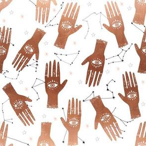 MEDIUM - palmistry hand print, palm print fabric, palmistry, tarot fabric, ouija fabric, hand print, trendy palm print -  copper