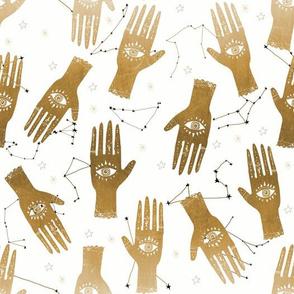 MEDIUM - palmistry hand print, palm print fabric, palmistry, tarot fabric, ouija fabric, hand print, trendy palm print -  - gold