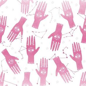 MEDIUM - palmistry hand print, palm print fabric, palmistry, tarot fabric, ouija fabric, hand print, trendy palm print - pink