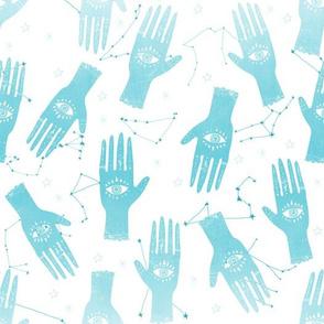 MEDIUM - palmistry hand print, palm print fabric, palmistry, tarot fabric, ouija fabric, hand print, trendy palm print - blue