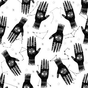 MEDIUM - palmistry hand print, palm print fabric, palmistry, tarot fabric, ouija fabric, hand print, trendy palm print -  black and white
