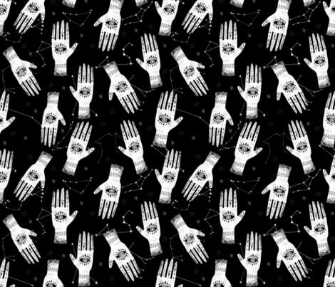 MEDIUM - palmistry hand print, palm print fabric, palmistry, tarot fabric, ouija fabric, hand print, trendy palm print -  black fabric by charlottewinter on Spoonflower - custom fabric