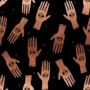 SMALL - hand palmistry hand - palm print fabric, palm, tarot, ouija, star, stars, constellations, - black and copper