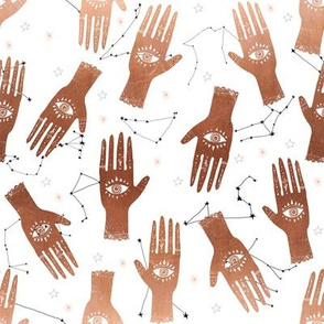 SMALL - hand palmistry hand - palm print fabric, palm, tarot, ouija, star, stars, constellations, - copper