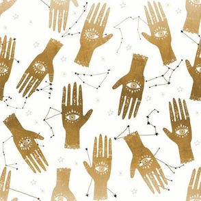 SMALL - hand palmistry hand - palm print fabric, palm, tarot, ouija, star, stars, constellations, - gold