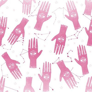 SMALL - hand palmistry hand - palm print fabric, palm, tarot, ouija, star, stars, constellations, - pink