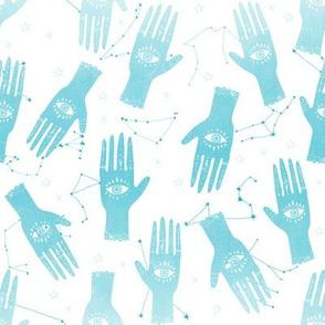SMALL - hand palmistry hand - palm print fabric, palm, tarot, ouija, star, stars, constellations, - aqua