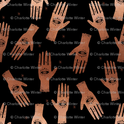 EXTRA SMALL - palmistry fabric, palm print fabric, tarot fabric, hand print, eye print, trendy fabric 2019 - black and copper